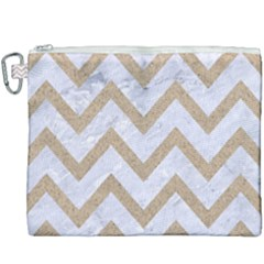 Chevron9 White Marble & Sand (r) Canvas Cosmetic Bag (xxxl) by trendistuff