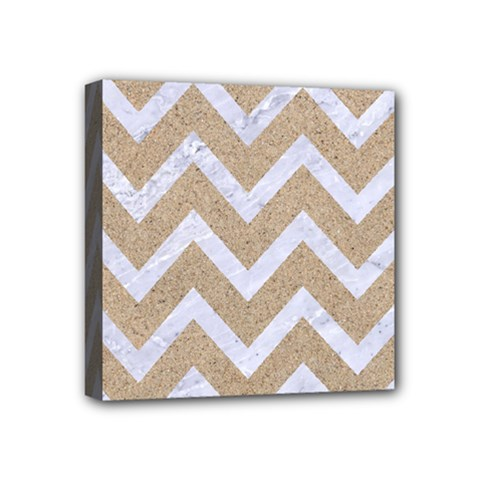 Chevron9 White Marble & Sand Mini Canvas 4  X 4  by trendistuff