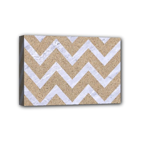 Chevron9 White Marble & Sand Mini Canvas 6  X 4  by trendistuff