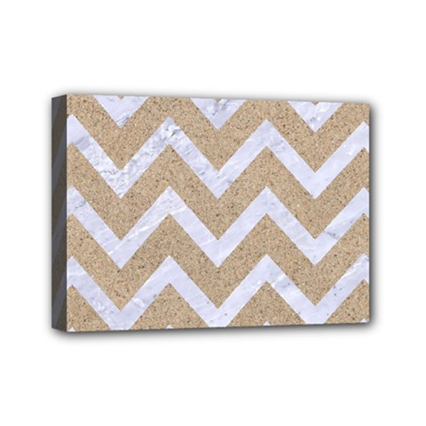 Chevron9 White Marble & Sand Mini Canvas 7  X 5  by trendistuff