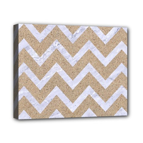 Chevron9 White Marble & Sand Canvas 10  X 8  by trendistuff