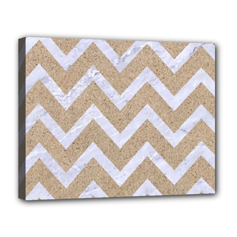 Chevron9 White Marble & Sand Canvas 14  X 11  by trendistuff