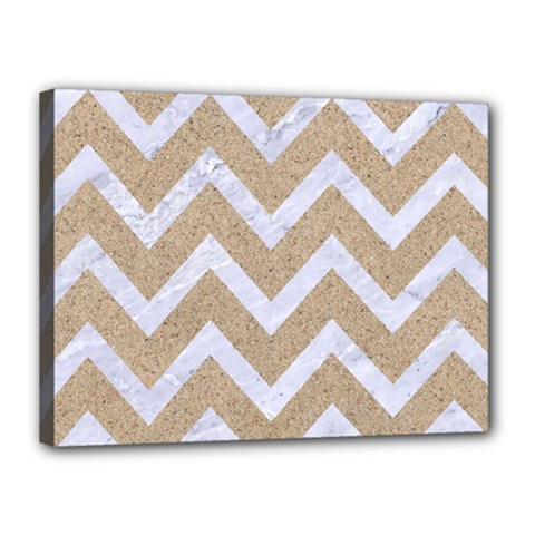 Chevron9 White Marble & Sand Canvas 16  X 12  by trendistuff