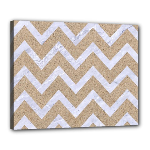 Chevron9 White Marble & Sand Canvas 20  X 16  by trendistuff