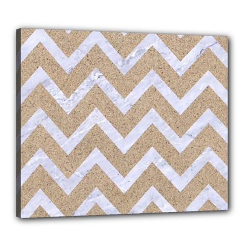 Chevron9 White Marble & Sand Canvas 24  X 20  by trendistuff