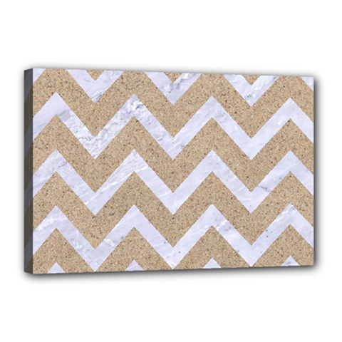 Chevron9 White Marble & Sand Canvas 18  X 12  by trendistuff
