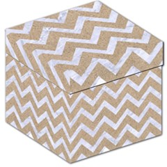 Chevron9 White Marble & Sand Storage Stool 12