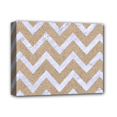 Chevron9 White Marble & Sand Deluxe Canvas 14  X 11  by trendistuff