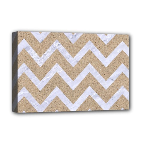 Chevron9 White Marble & Sand Deluxe Canvas 18  X 12   by trendistuff