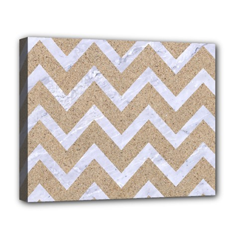 Chevron9 White Marble & Sand Deluxe Canvas 20  X 16   by trendistuff