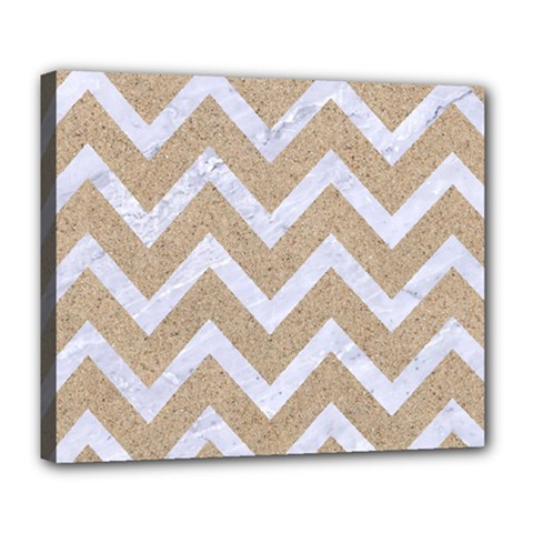 Chevron9 White Marble & Sand Deluxe Canvas 24  X 20   by trendistuff