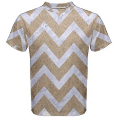 Chevron9 White Marble & Sand Men s Cotton Tee