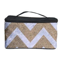 Chevron9 White Marble & Sand Cosmetic Storage Case by trendistuff