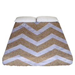 Chevron9 White Marble & Sand Fitted Sheet (king Size) by trendistuff