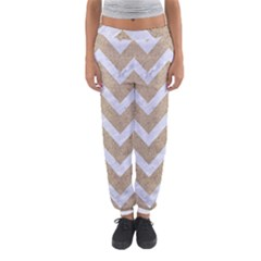 Chevron9 White Marble & Sand Women s Jogger Sweatpants by trendistuff