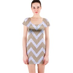 Chevron9 White Marble & Sand Short Sleeve Bodycon Dress by trendistuff