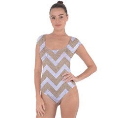 Chevron9 White Marble & Sand Short Sleeve Leotard  by trendistuff