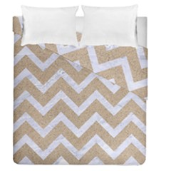 Chevron9 White Marble & Sand Duvet Cover Double Side (queen Size) by trendistuff