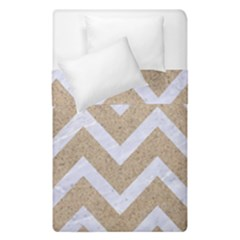 Chevron9 White Marble & Sand Duvet Cover Double Side (single Size) by trendistuff