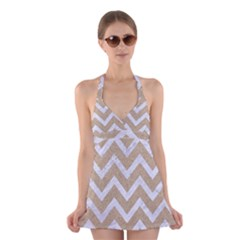 Chevron9 White Marble & Sand Halter Dress Swimsuit  by trendistuff