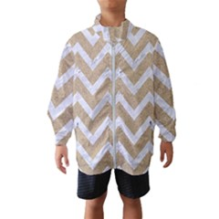 Chevron9 White Marble & Sand Wind Breaker (kids) by trendistuff