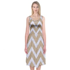 Chevron9 White Marble & Sand Midi Sleeveless Dress by trendistuff