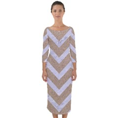 Chevron9 White Marble & Sand Quarter Sleeve Midi Bodycon Dress by trendistuff