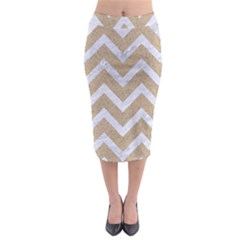 Chevron9 White Marble & Sand Midi Pencil Skirt by trendistuff