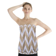 Chevron9 White Marble & Sand Strapless Top by trendistuff