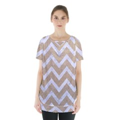 Chevron9 White Marble & Sand Skirt Hem Sports Top