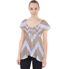 Chevron9 White Marble & Sand Lace Front Dolly Top by trendistuff