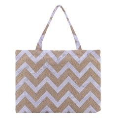 Chevron9 White Marble & Sand Medium Tote Bag by trendistuff
