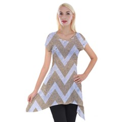 Chevron9 White Marble & Sand Short Sleeve Side Drop Tunic by trendistuff