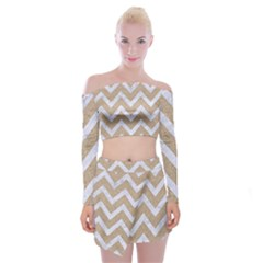Chevron9 White Marble & Sand Off Shoulder Top With Mini Skirt Set by trendistuff