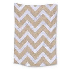 Chevron9 White Marble & Sand Large Tapestry by trendistuff