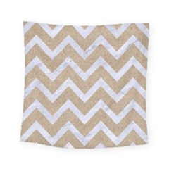 Chevron9 White Marble & Sand Square Tapestry (small) by trendistuff