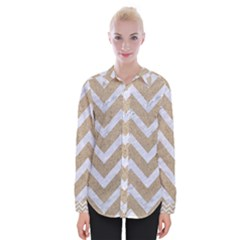 Chevron9 White Marble & Sand Womens Long Sleeve Shirt by trendistuff