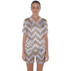Chevron9 White Marble & Sand Satin Short Sleeve Pyjamas Set by trendistuff