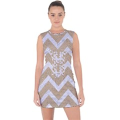 Chevron9 White Marble & Sand Lace Up Front Bodycon Dress by trendistuff