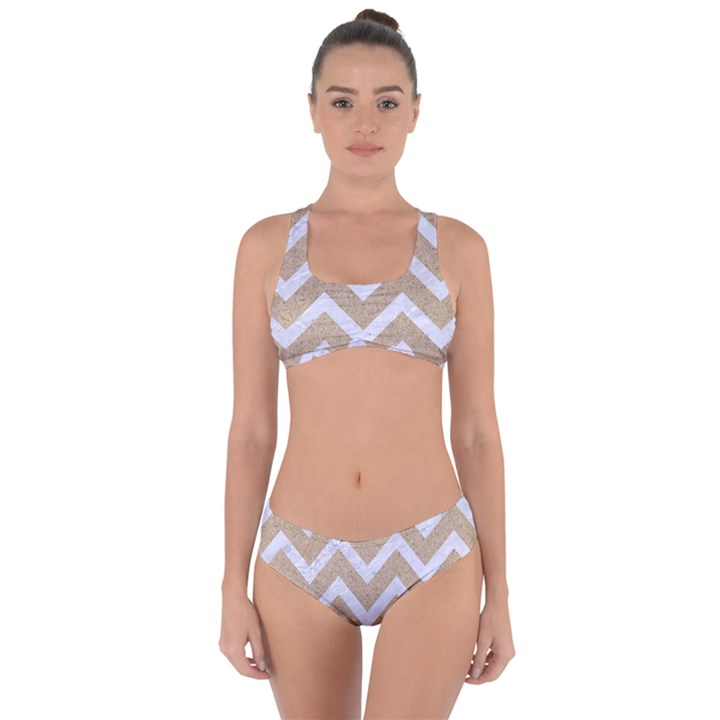CHEVRON9 WHITE MARBLE & SAND Criss Cross Bikini Set