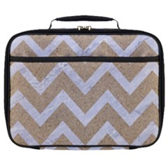 Chevron9 White Marble & Sand Full Print Lunch Bag by trendistuff