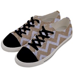 Chevron9 White Marble & Sand Men s Low Top Canvas Sneakers by trendistuff