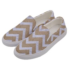 Chevron9 White Marble & Sand Men s Canvas Slip Ons by trendistuff