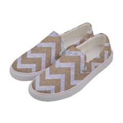 Chevron9 White Marble & Sand Women s Canvas Slip Ons by trendistuff