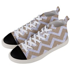 Chevron9 White Marble & Sand Men s Mid Top Canvas Sneakers by trendistuff