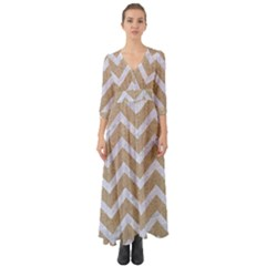 Chevron9 White Marble & Sand Button Up Boho Maxi Dress by trendistuff
