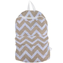 Chevron9 White Marble & Sand Foldable Lightweight Backpack by trendistuff