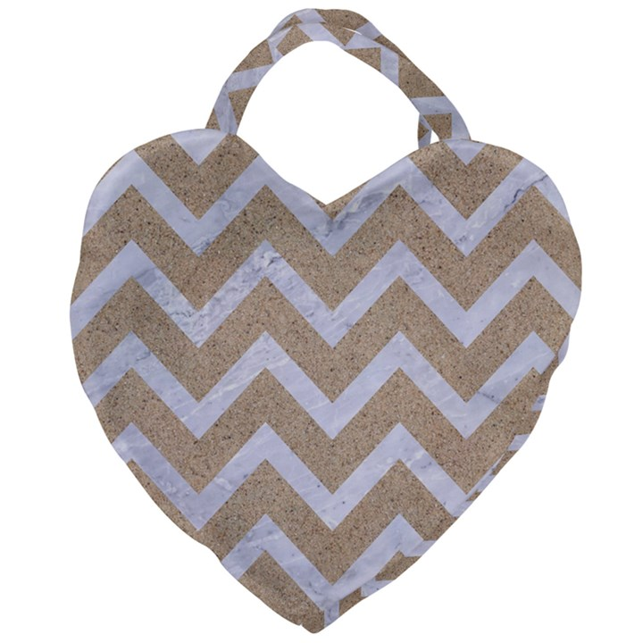 CHEVRON9 WHITE MARBLE & SAND Giant Heart Shaped Tote