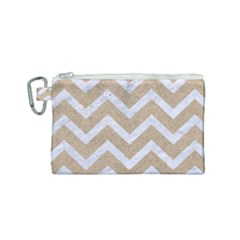Chevron9 White Marble & Sand Canvas Cosmetic Bag (small) by trendistuff
