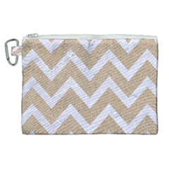 Chevron9 White Marble & Sand Canvas Cosmetic Bag (xl) by trendistuff